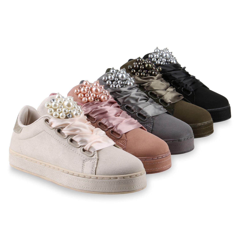 Damen Sneakers Zierperlen Plateau Sneaker Zierperlen Sneakers Satinoptik Glitzer Schuh 818295  zapatos 6b4d38