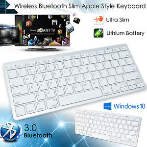 white bluetooth 3 0 wireless keyboard for apple imac macbook iphone htc uk stock 5075684321937. Black Bedroom Furniture Sets. Home Design Ideas