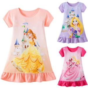 Toddler-Kids-Baby-Girls-Rapunzel-Belle-Aurora-Princess-Print-Summer-Party-Dress
