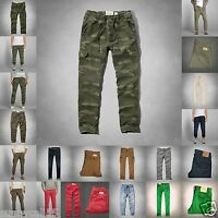 Abercrombie & Fitch Men Cargo Jogger Chinos Pants Size 30-34 Green Brown
