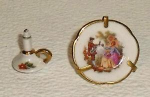 Limoges-Miniature-Candlestick-and-Plate-2-Pcs-Fragonard-Vtg-Dollhouse-1-034