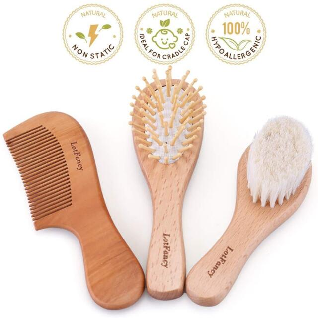 4 Piece Baby Hair Brush Set Prevents /& Treats Cradle Cap Baby Brush for Massage Perfect Baby Registry Gift Natural Bristles Wooden Comb