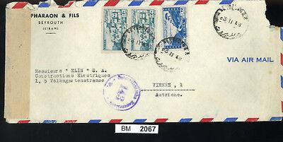 Bm2067, Libanon, 1948, Beyrouth - Wien, Luftpost, österreichischer Zensurstempel Duftendes Aroma