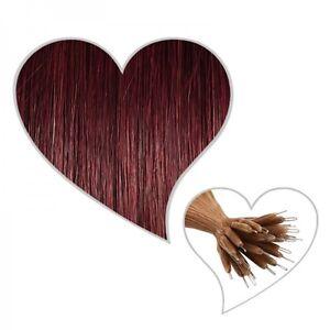 25 Anelli nano estensioni 45cm borgogna#32 veri capelli prolunga invece di Micro