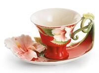 FZ00978 Franz Porcelain Island Beauty hibiscus flower cup saucer set