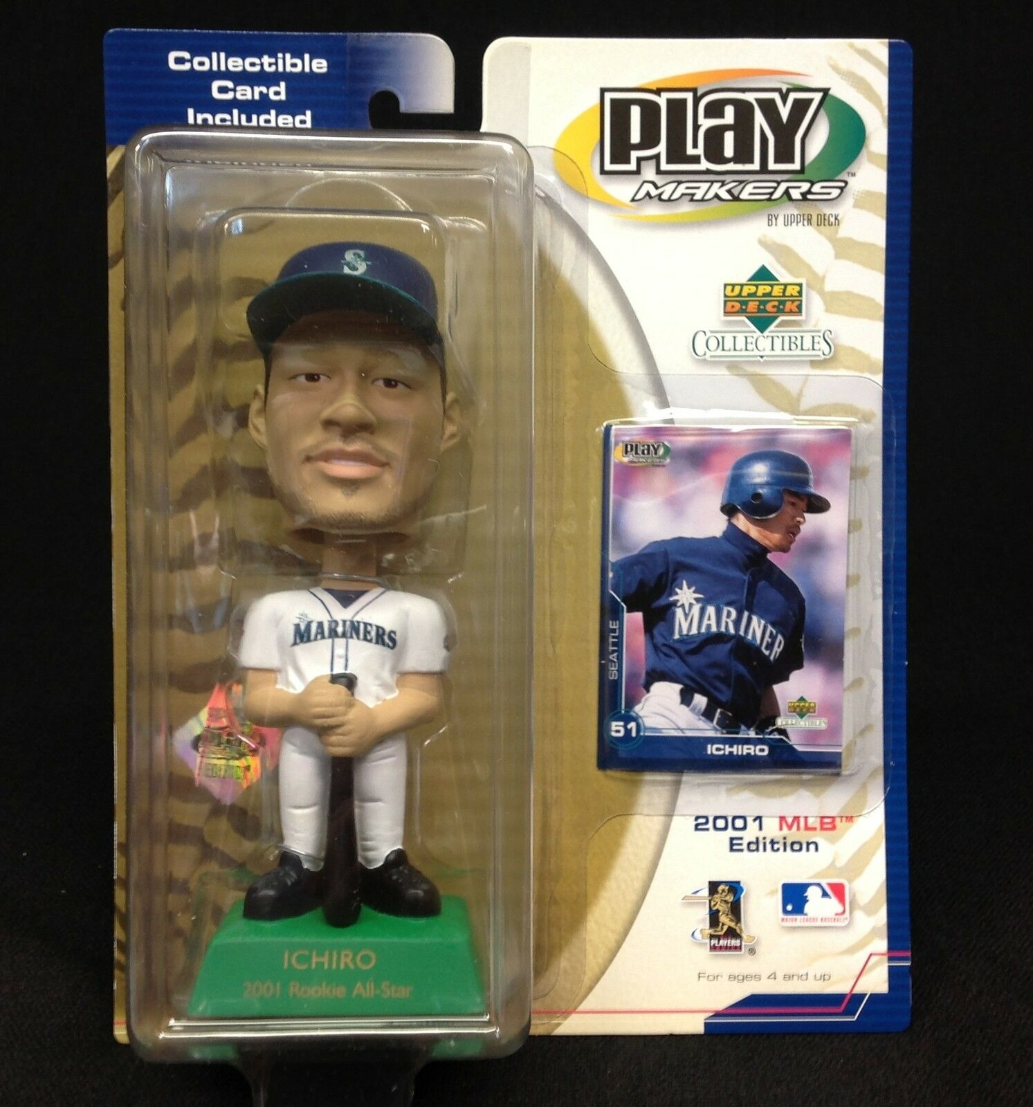 ICHIRO 2001 MLB Edition Upper Deck Play Makers BobbleHead with Collectible Card