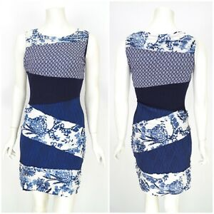 Womens-Desigual-Bodycon-Dress-Blue-Stretch-Sleeveless-Midi-Viscose-Blend-Size-M