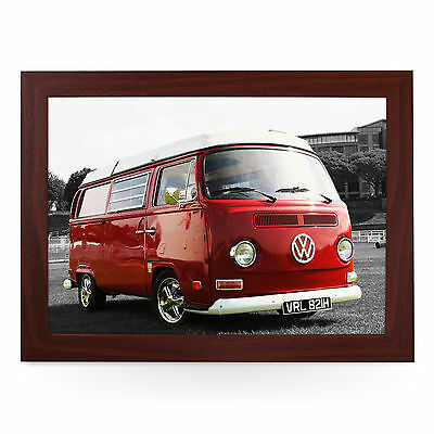 Red VW Campervan T2 Bay Window Personalised Padded Lap Tray Laptray L0123