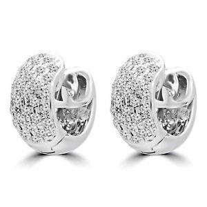 0.6 CTW VS1 F ROUND DIAMOND HUGGIE EARRINGS 14K WHITE GOLD