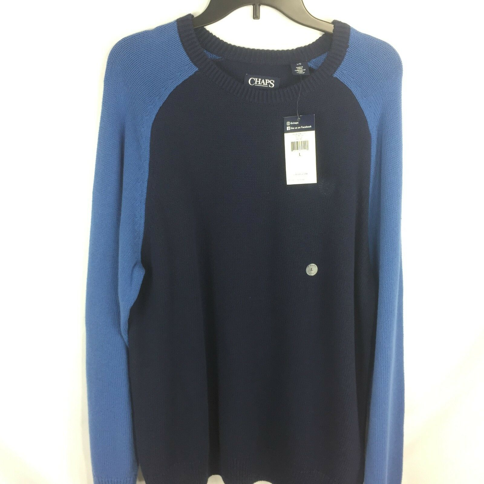 CHAPS - 2 Shade Navy   bluee Long Sleeve Cotton Sweater size L Mens NEW