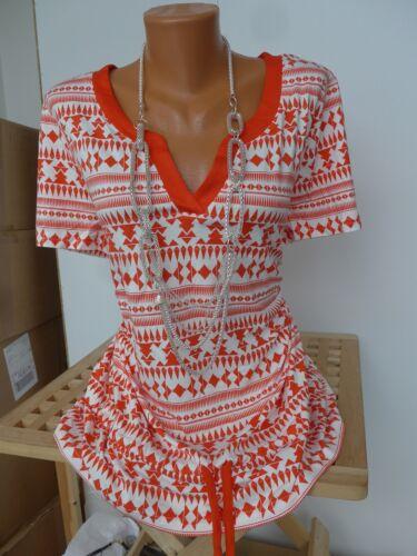 NEU 893 Sheego Viskose Shirt Damen Gr 40//42 bis 56//58 Kurzarm Creme Orange