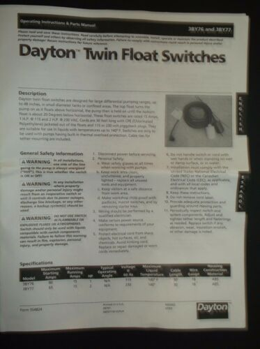 3BY77 Pump Twin Float Switch H8B 15A 230V NEW IN BOX