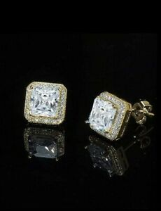 6a3d8439cc4df Details about 14K Gold Plated Stud Earrings, Square, Made with Swarovski  Crystals. New in Box!