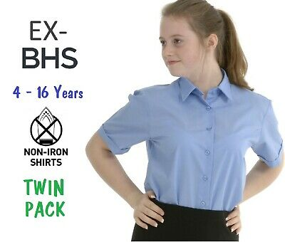 Twin-Pack ex BHS Boys School Shirt Short Sleeved Non Iron Easy Care Ages 4-16 Regular Fit Sky Blue