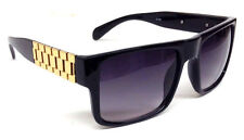 BLACK GOLD WATCH BAND SQUARE SUNGLASSES LINK CHAIN FLAT TOP CLASSIC HIP HOP VTG