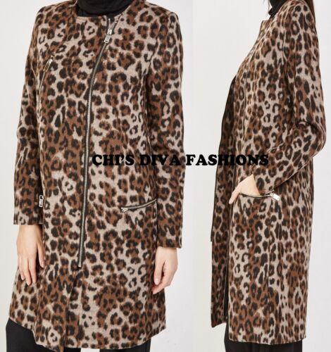 BELLISSIMO SPAZZOLATO Misto Lana Leopard stampa cappotto lungo giacca Taglia UK 8,10