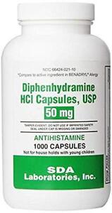 Diphenhydramine 50mg Capsules 1000ct (PACK OF 2)
