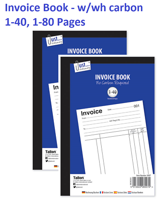 Full Size A5 Invoice Duplicate Receipt Book Numbered Cash 1-80 Pages Pad NEW