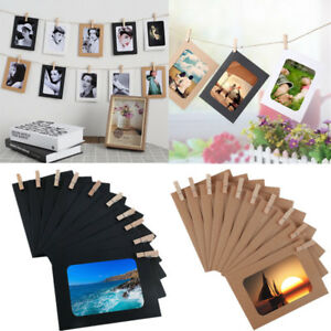 10x-DIY-Wall-Hanging-Kraft-Paper-Picture-Photo-Album-Frame-Rope-Clips-Home-Decor