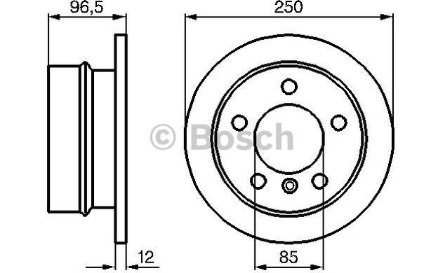 BOSCH Juego de 2 discos freno 258mm VOLKSWAGEN LT MERCEDES-BENZ 0 986 478 863