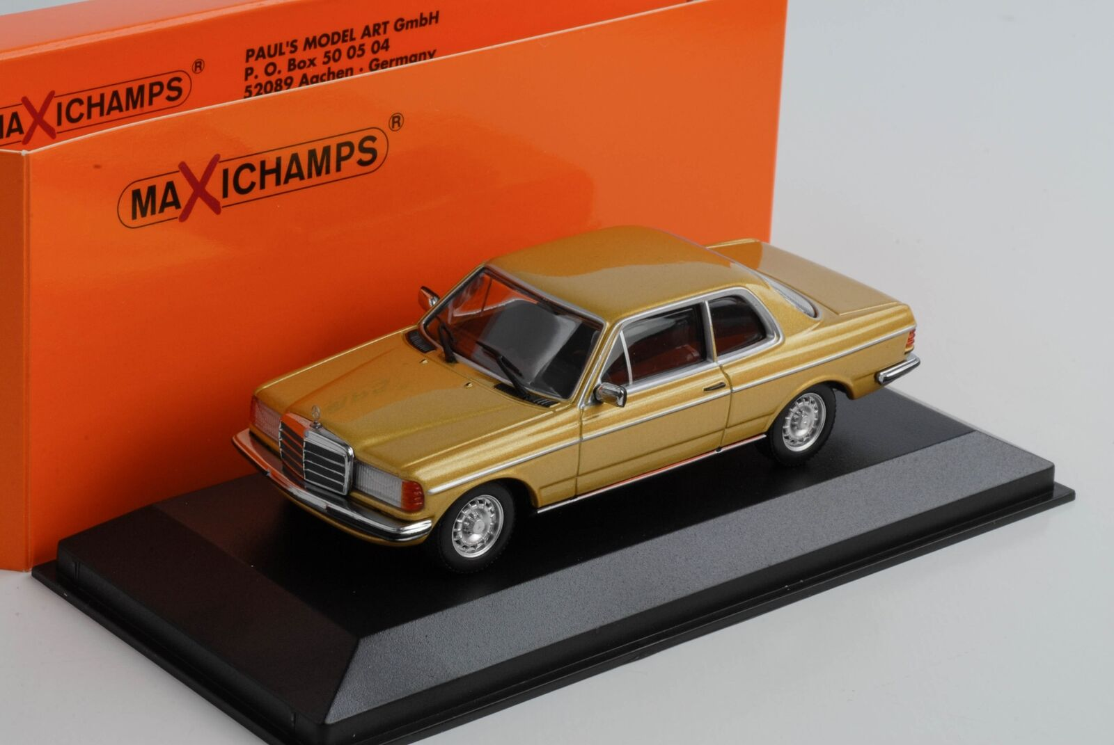 Mercedes-Benz  230CE 230 W123 Coupe gold metallic 1976 diecast 1 43 Minichamps M