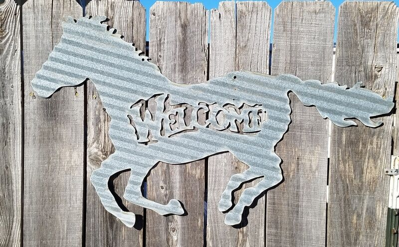 Corrugated Metal Running Horse, Welcome, Western, Ranch, Cowboy, Cowgirl decor