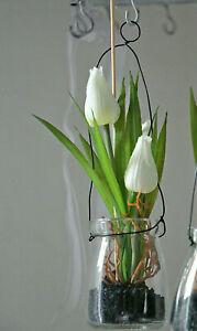 1x h bsche wei e tulpen im h ngeglas kunstblume tulpe im glas 21cm fr hlingsdeko ebay. Black Bedroom Furniture Sets. Home Design Ideas