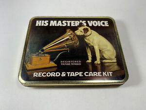 Vintage HIS MASTER'S VOICE Record & Tape Care Kit Tin Lithographed Empty Box