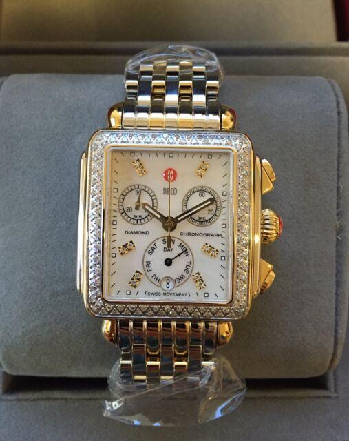 fa779eb65 NEW Authentic Michele Deco Diamond Two Tone Gold MOP MWW06P000108 Womens  Watch