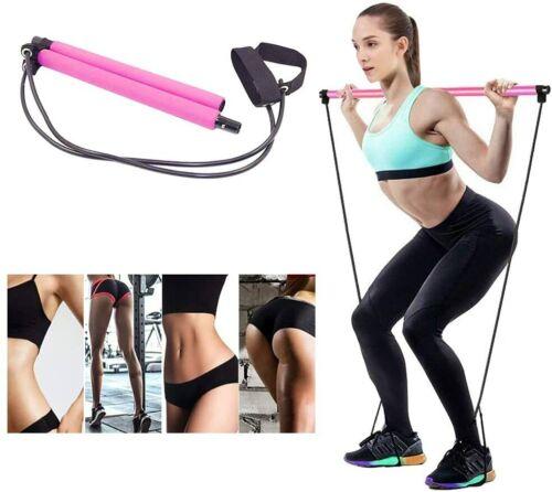 Pilates Bar Exercise Resistance Band Kit Stick Muscle Body Toning Bar