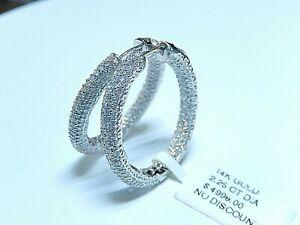 "New Large 14k WG 2.25tcw Natural Diamond Inside/Outside Hoop Earrings 1 1/8"""