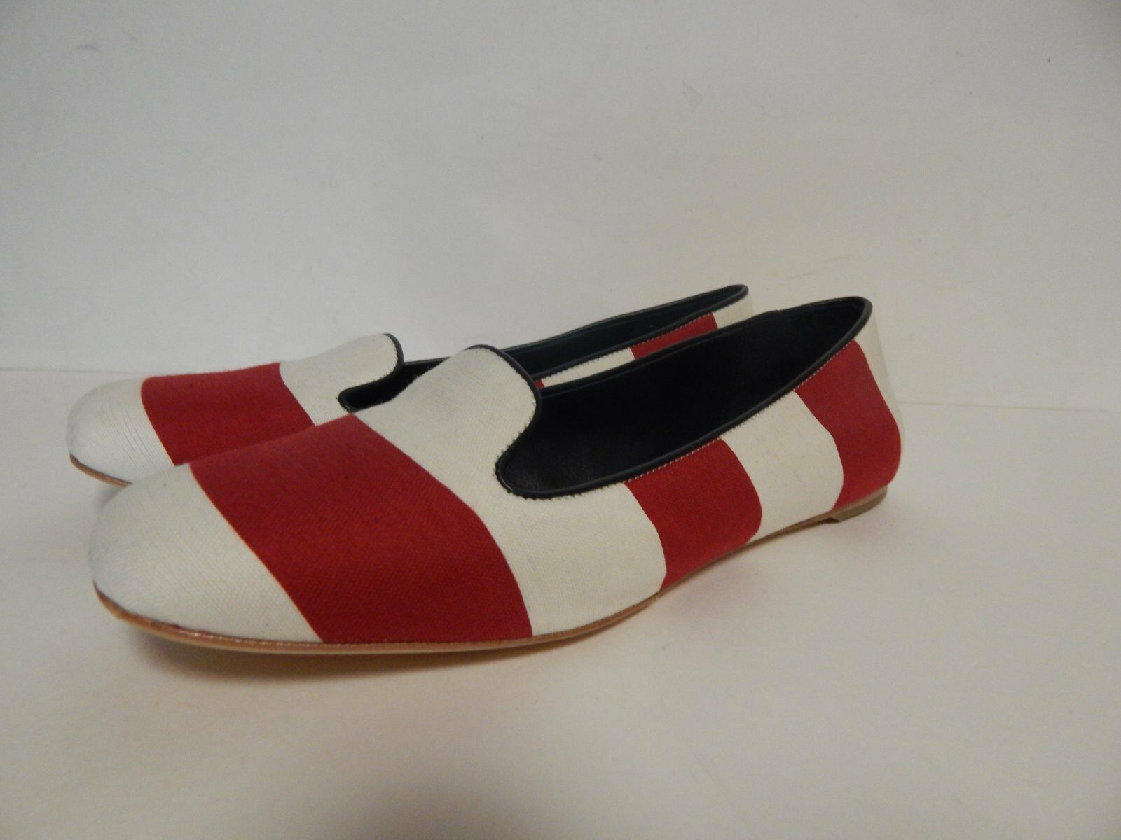 Johnston & Murphy Riley Striped Flat Red New with Box