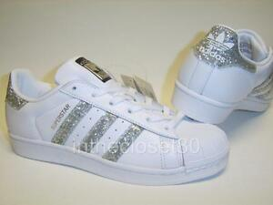 Image is loading Adidas-Superstar-White-Metallic -Silver-Glitter-Black-Womens-