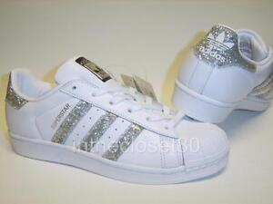 Image is loading Adidas-Superstar-White-Metallic-Silver-Glitter-Black-Womens - e333d1a362