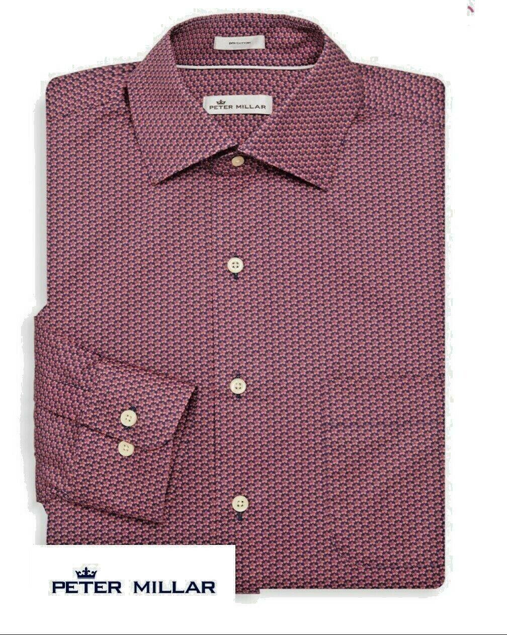 Peter Millar Men's Aloha Floral Print Dress Shirt color - Atlantic B Size Medium
