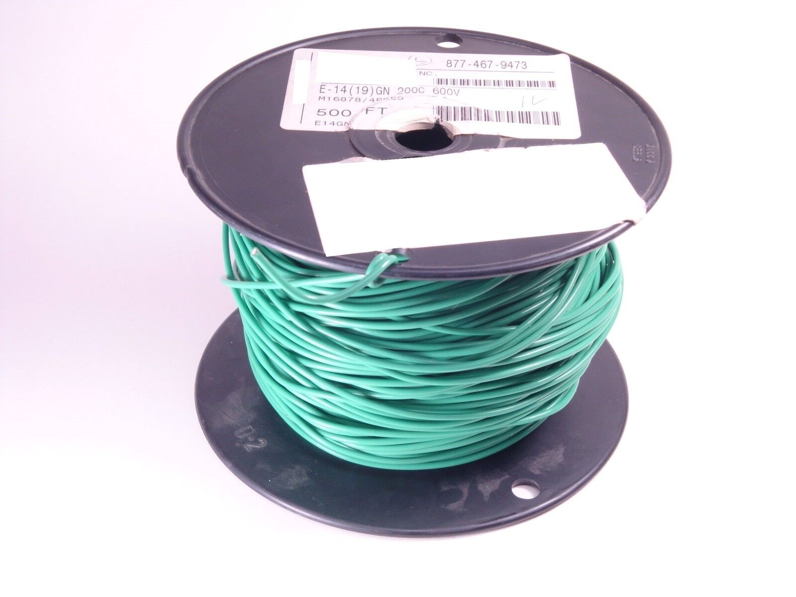 M16878 4-BKE5 MIL PTFE Extruded Hookup Wire 14 AWG 19 X 27 Green 380' Partial