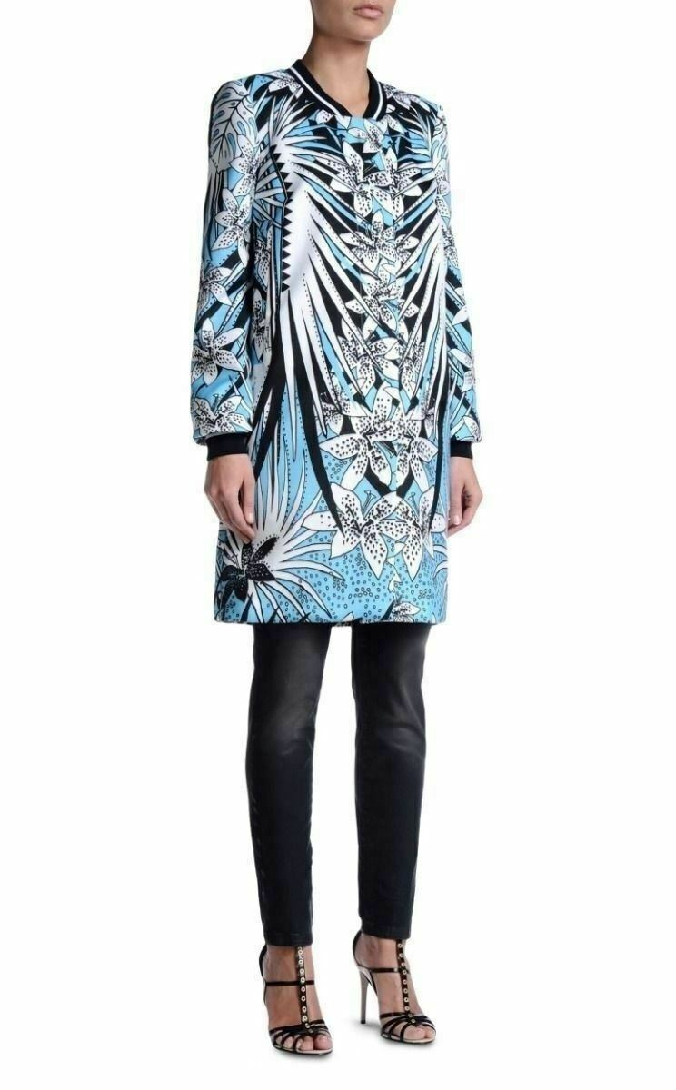 Just Cavalli Damen Blaumenmuster Trenchcoat S It