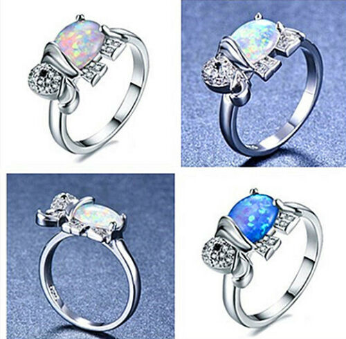 925 Silver Elephant Blue White Fire Opal Crystal Wedding Ring Size 6 7 8 9 10