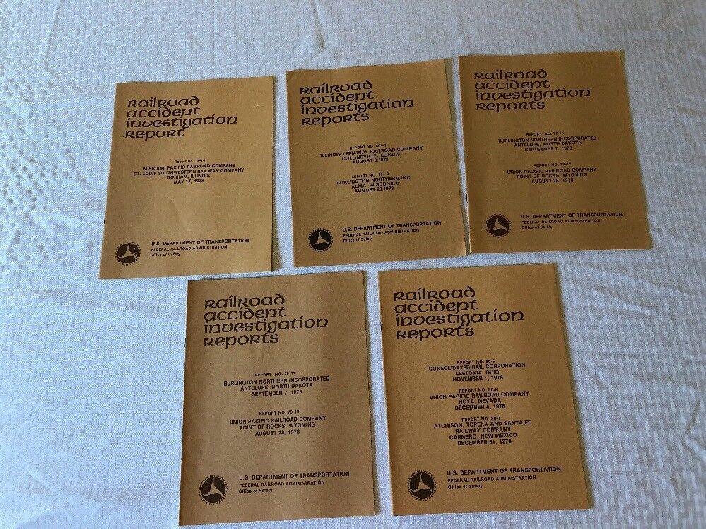 5 VINTAGE 1978 USDOT RAILROAD ACCIDENT INVESTIGATION REPORT MAGAZINE TRAIN RAIL