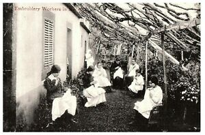 Embroidery-Workers-Madeira-Island-Portugal-Vintage-Postcard-RPPC