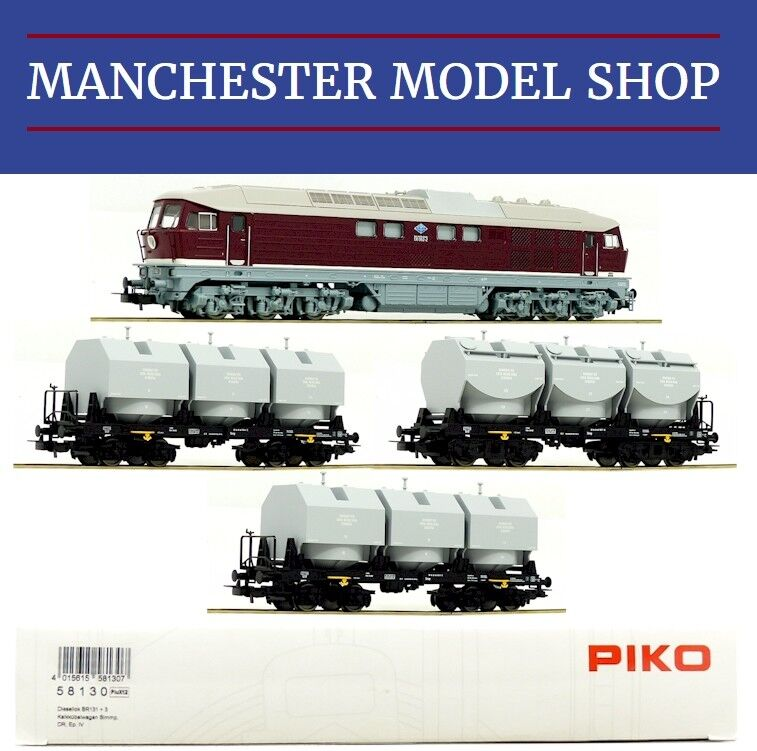 Piko 58130-S HO 1 87 BR 131 Diesel locomotive & 3x Kalkkübelwagen DR  DCC-SOUND