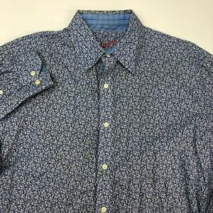 Robert-Graham-Button-Up-Shirt-Mens-XL-Blue-Long-Sleeve-Floral-Pointed-Collar