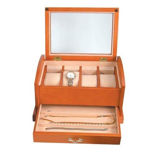 NEW Oak 7 Slot Watch Bracelet Jewelry Box Case Large Glass Top Organizer Display