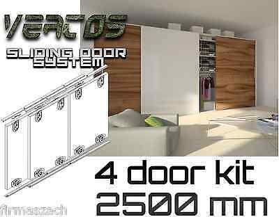Sliding WardrobeTrack gear kit DIY set wardrobe 3 colours track 2500 mm 4 doors