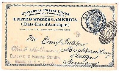 Realistisch Ganzsachen-postkarte Usa Brooklyn > Buchhandlung E Gutzkow Stuttgart * 1890 Gel 100% Original