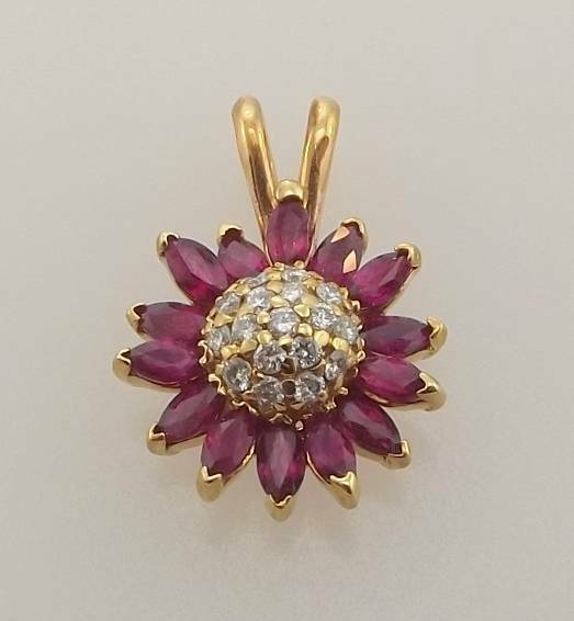 14KT YELLOW gold 1.93CTTW MARQUISE RUBY & DIAMOND FLOWER PENDANT (6P 443-10007)