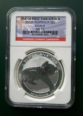 2012-P Australia $1 Silver 1oz .999 Koala NGC MS 70 ONE of First 7500 Struck