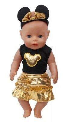 Zb Puppenkleidung Neu Rock Outfit Schwarz/gold 43 Cm Baby Born/sister