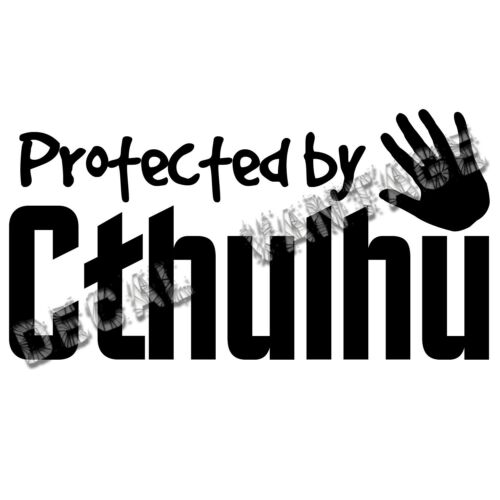 Choose Size /& Color Protected By Cthulhu Hand Vinyl Sticker Decal Lovecraft
