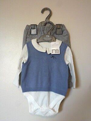 BNWT NEXT Baby Boys 4 Pack Blue White Sleepsuits Babygrows Newborn 0-1mth 10lbs